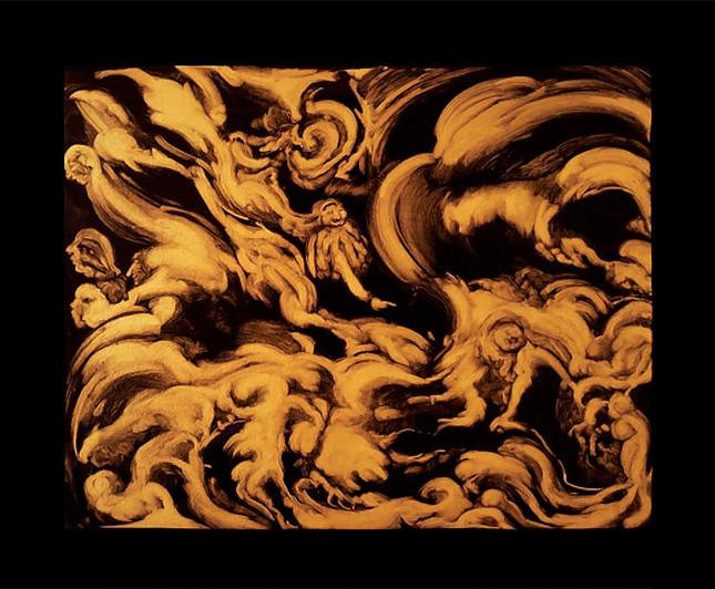 """""""Porte entre les mondes"""", huile sur bois, 60/50cm"""