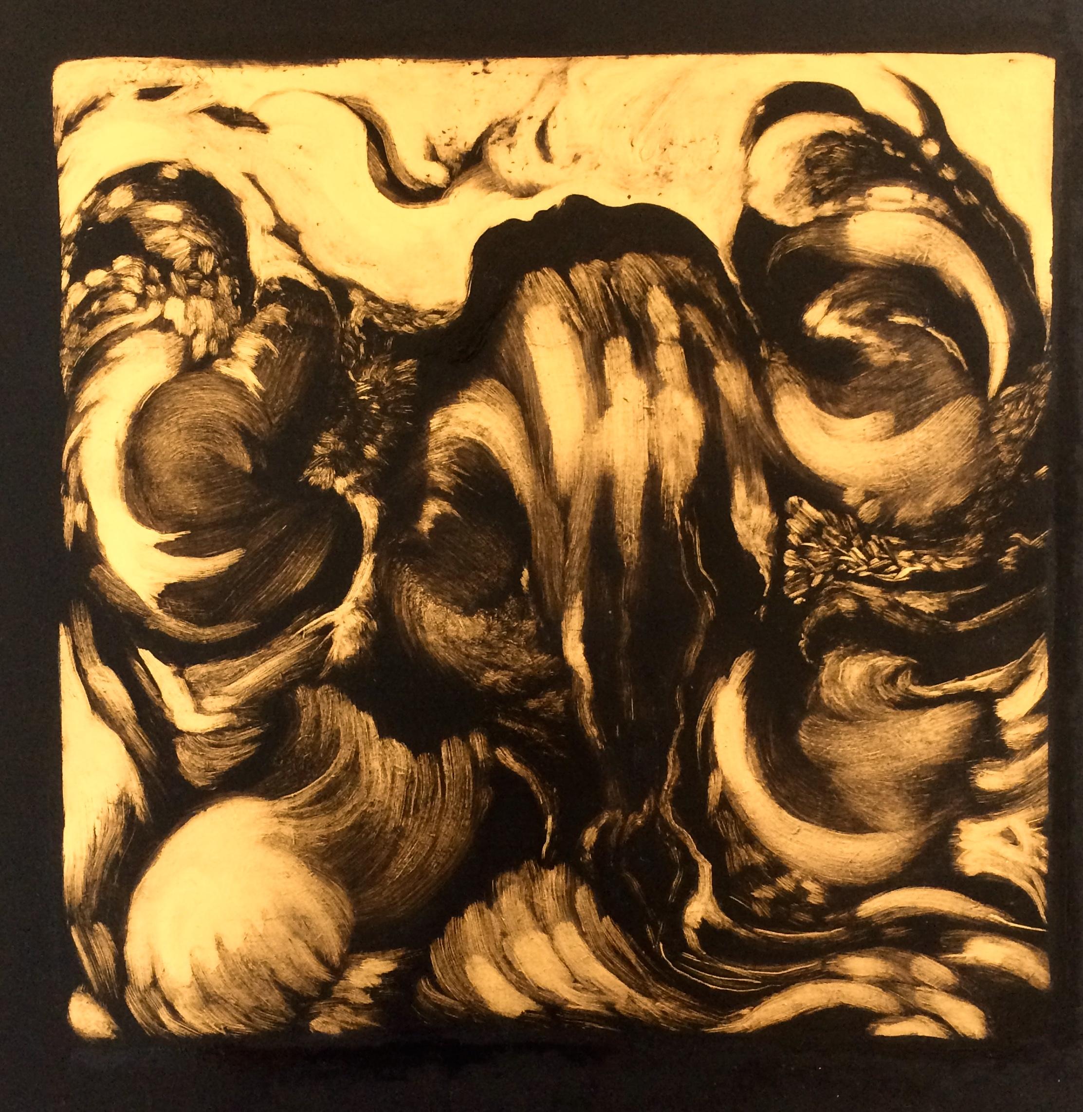 """""""Porte entre les mondes"""", huile sur bois, 40/40cm"""