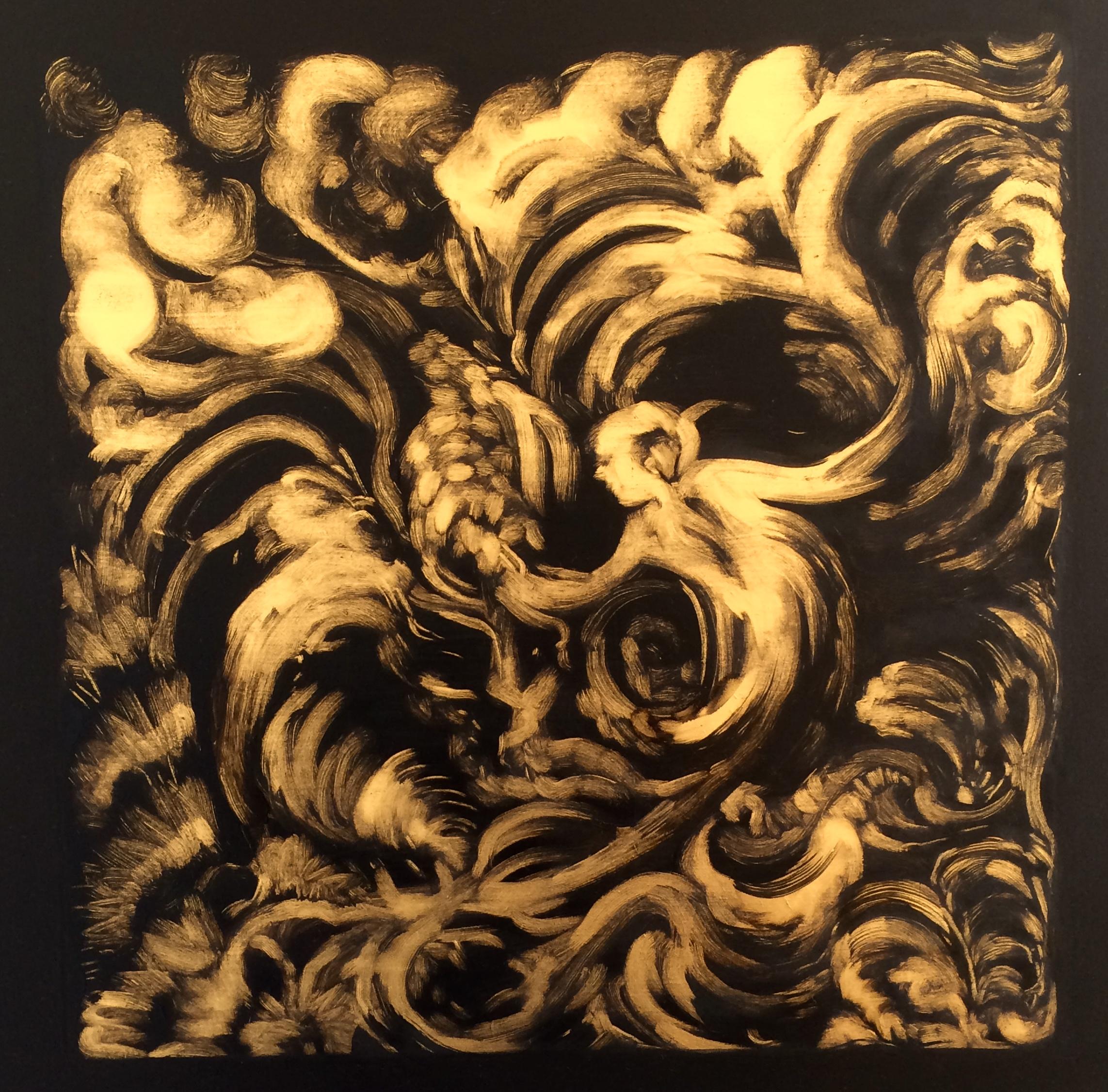 """""""Porte entre les mondes"""", huile sur bois, 40cm/40cm"""