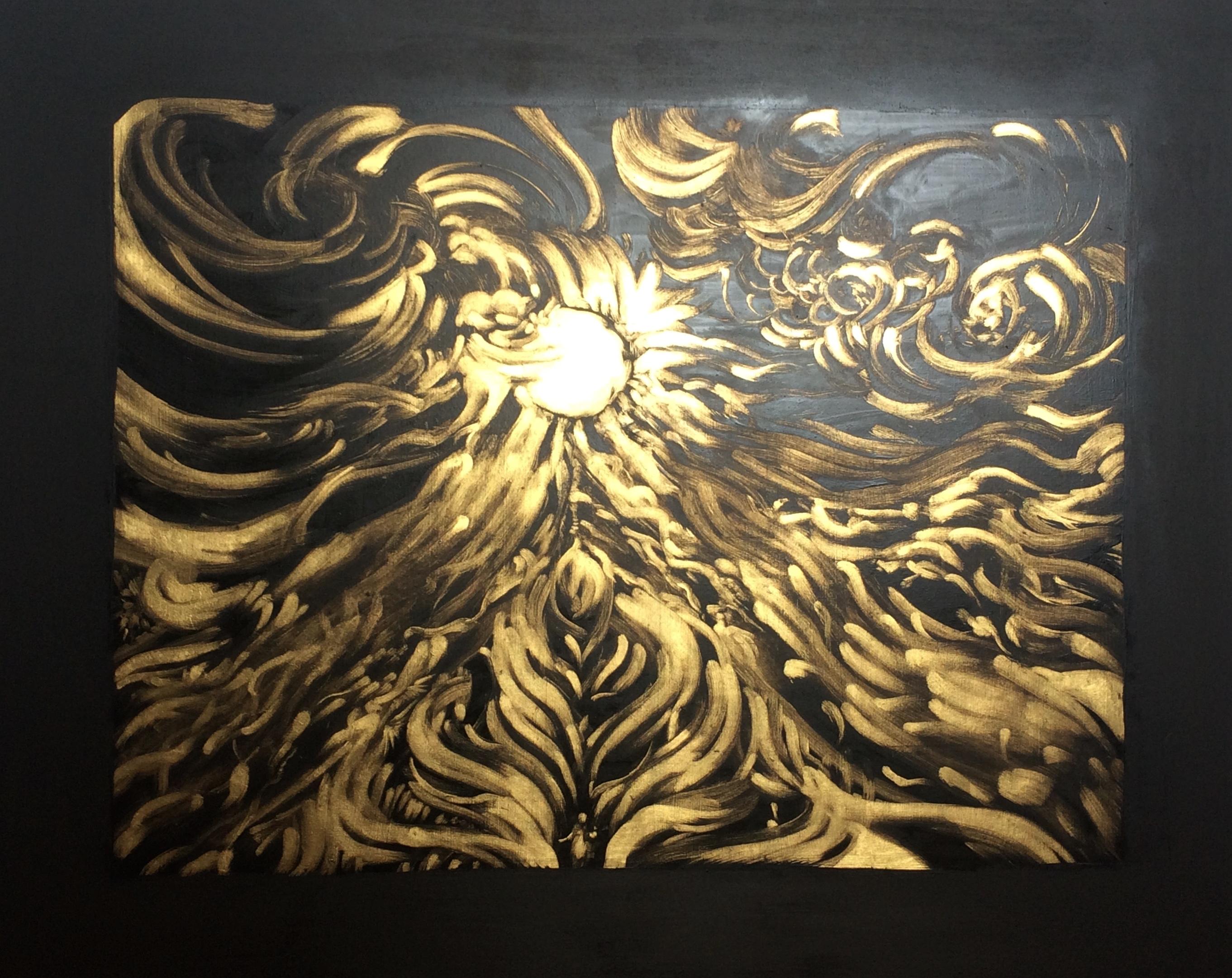 """""""Porte entre les mondes"""", huile sur bois, 100/80cm"""